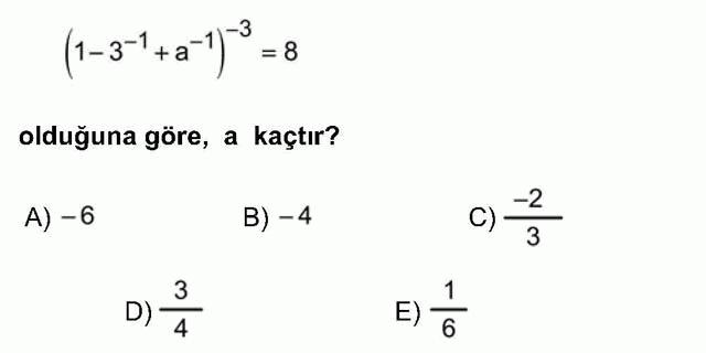 LYS Matematik Soruları 1. Soru