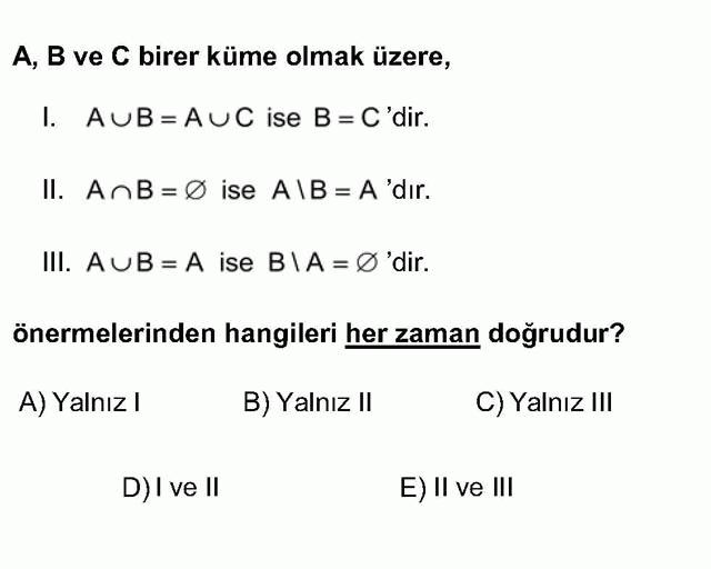 LYS Matematik Soruları 11. Soru