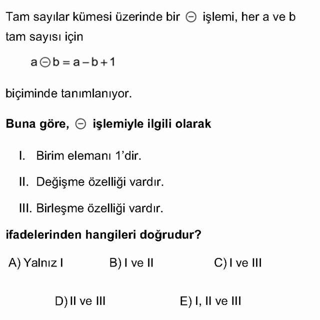 LYS Matematik Soruları 12. Soru