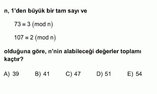 LYS Matematik Soruları 13. Soru