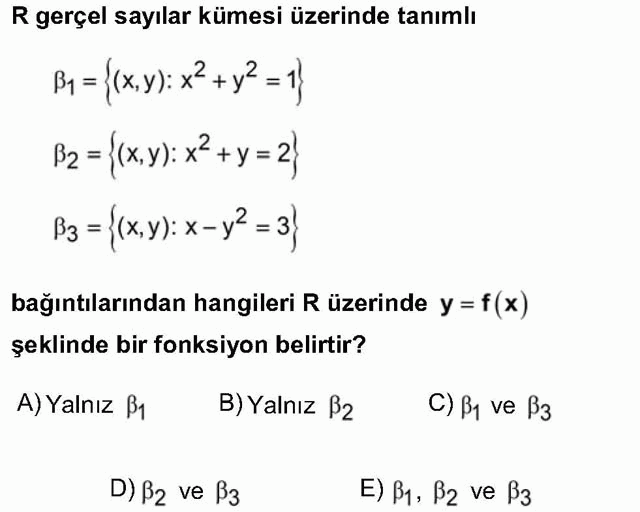 LYS Matematik Soruları 16. Soru