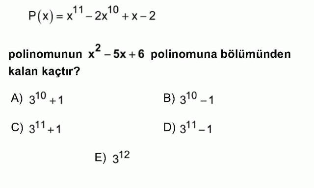 LYS Matematik Soruları 18. Soru
