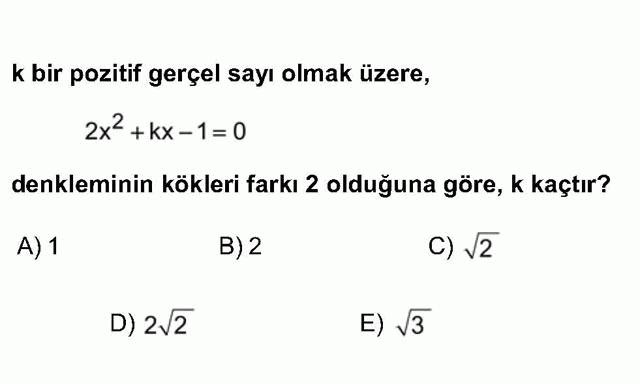 LYS Matematik Soruları 20. Soru