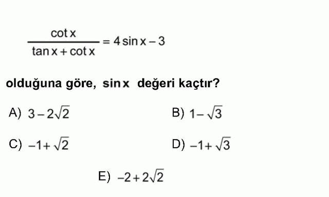 LYS Matematik Soruları 24. Soru