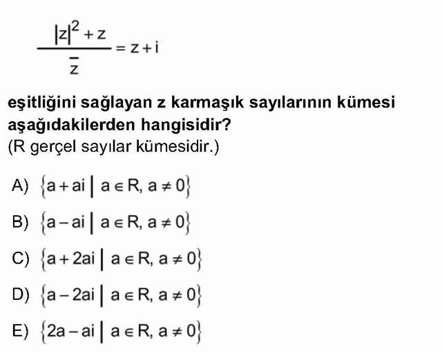 LYS Matematik Soruları 27. Soru