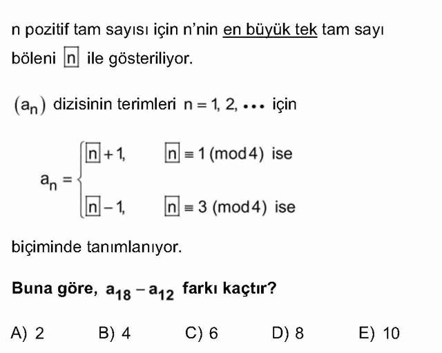 LYS Matematik Soruları 33. Soru