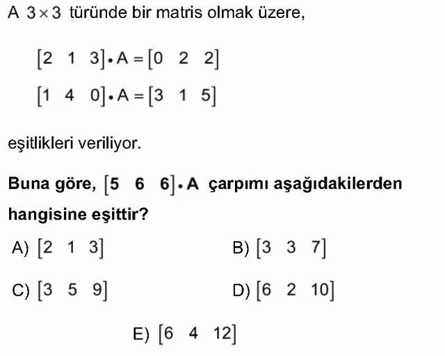 LYS Matematik Soruları 36. Soru