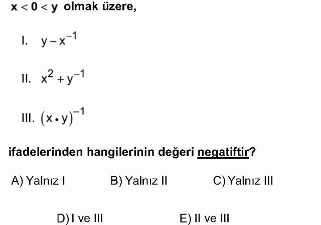 LYS Matematik Soruları 5. Soru