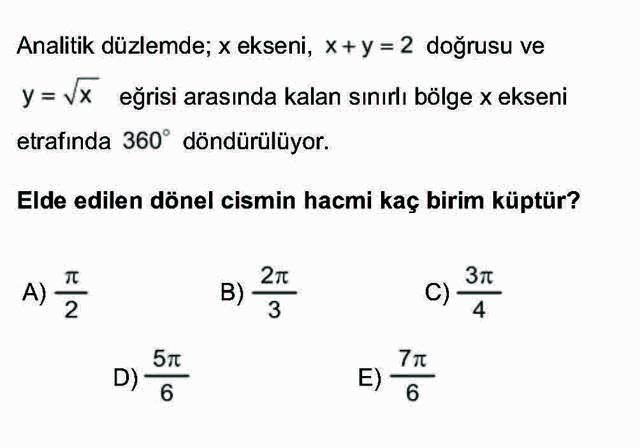 LYS Matematik Soruları 50. Soru