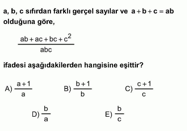 LYS Matematik Soruları 7. Soru