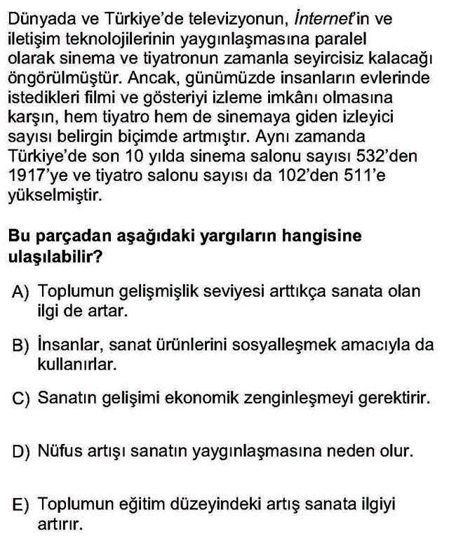 LYS Sosyoloji Soruları 36. Soru