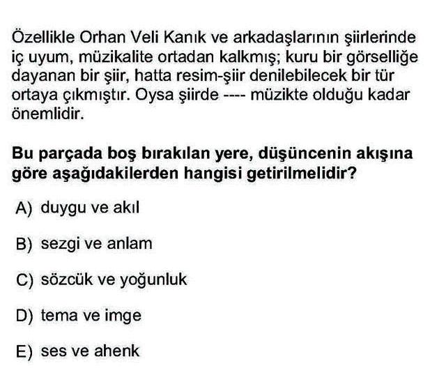 LYS Türk Dili ve Edebiyatı Soruları 1. Soru