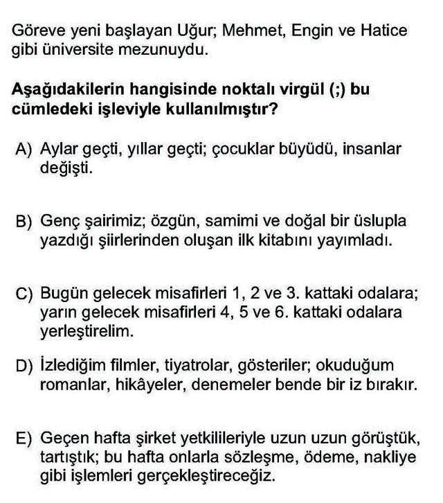 LYS Türk Dili ve Edebiyatı Soruları 10. Soru