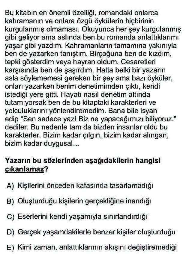 LYS Türk Dili ve Edebiyatı Soruları 19. Soru