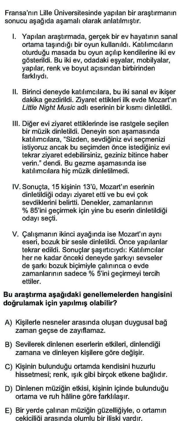 LYS Türk Dili ve Edebiyatı Soruları 21. Soru
