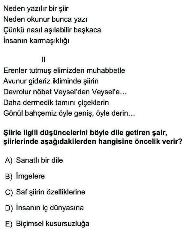 LYS Türk Dili ve Edebiyatı Soruları 22. Soru