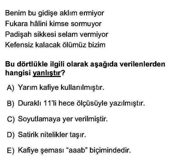 LYS Türk Dili ve Edebiyatı Soruları 23. Soru