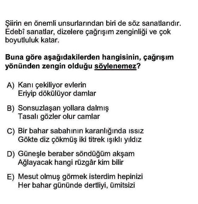 LYS Türk Dili ve Edebiyatı Soruları 24. Soru