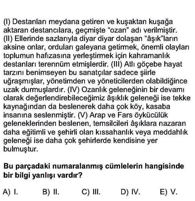 LYS Türk Dili ve Edebiyatı Soruları 26. Soru