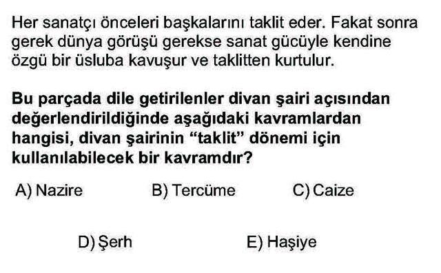 LYS Türk Dili ve Edebiyatı Soruları 27. Soru