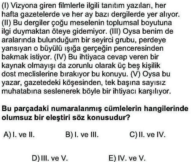 LYS Türk Dili ve Edebiyatı Soruları 3. Soru