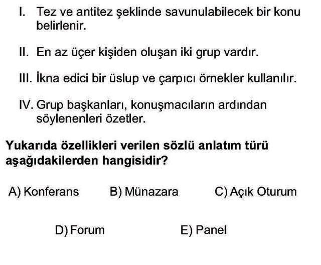 LYS Türk Dili ve Edebiyatı Soruları 30. Soru