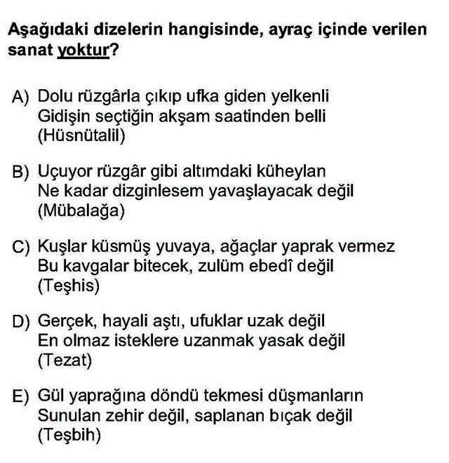 LYS Türk Dili ve Edebiyatı Soruları 31. Soru