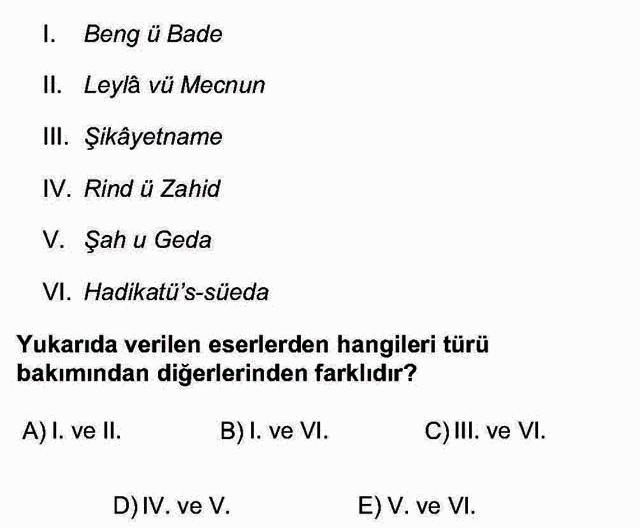 LYS Türk Dili ve Edebiyatı Soruları 33. Soru