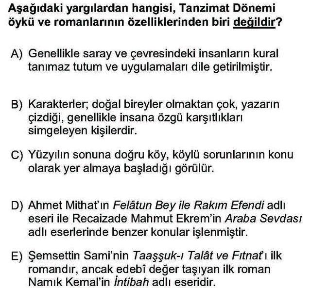 LYS Türk Dili ve Edebiyatı Soruları 36. Soru