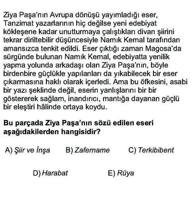 LYS Türk Dili ve Edebiyatı Soruları 37. Soru