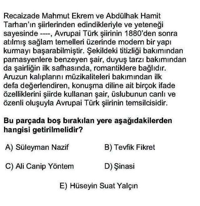 LYS Türk Dili ve Edebiyatı Soruları 38. Soru