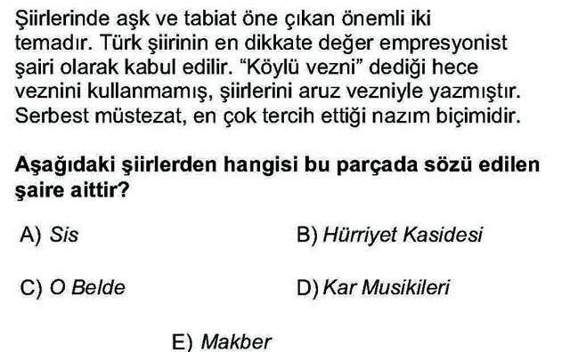 LYS Türk Dili ve Edebiyatı Soruları 39. Soru