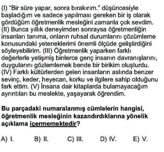 LYS Türk Dili ve Edebiyatı Soruları 4. Soru