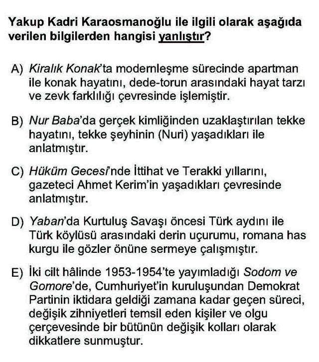 LYS Türk Dili ve Edebiyatı Soruları 43. Soru