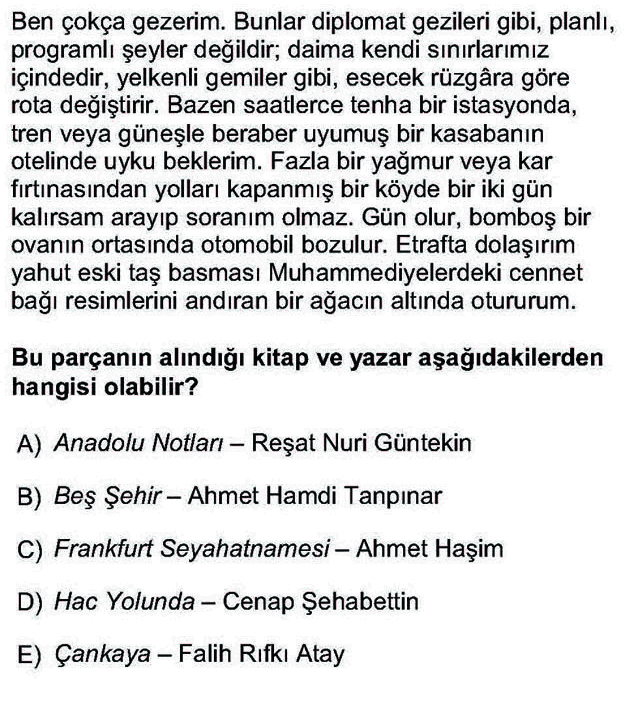 LYS Türk Dili ve Edebiyatı Soruları 44. Soru