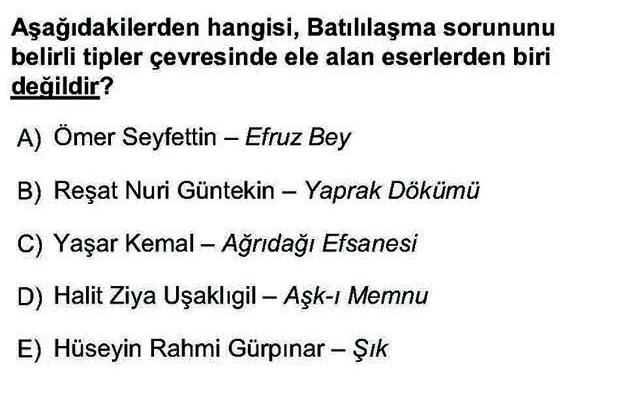 LYS Türk Dili ve Edebiyatı Soruları 45. Soru