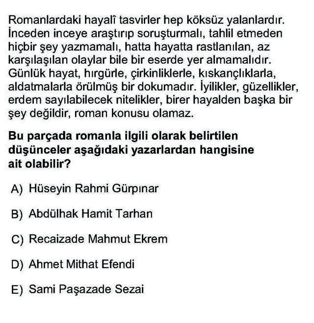 LYS Türk Dili ve Edebiyatı Soruları 46. Soru