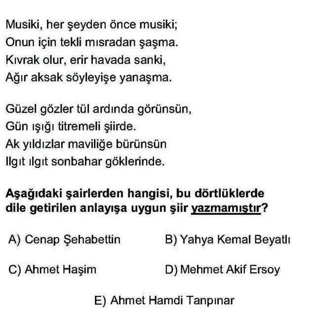 LYS Türk Dili ve Edebiyatı Soruları 48. Soru