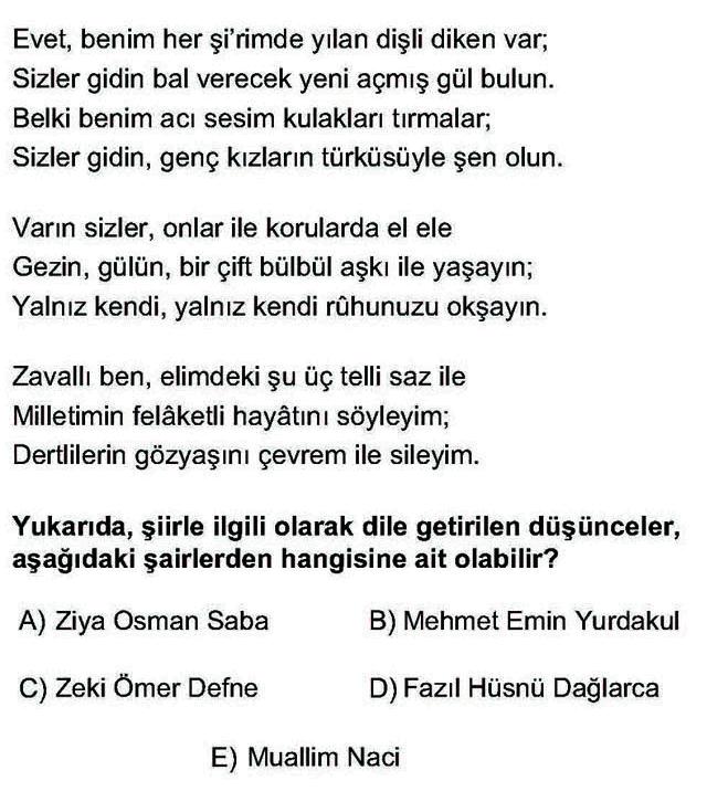 LYS Türk Dili ve Edebiyatı Soruları 50. Soru