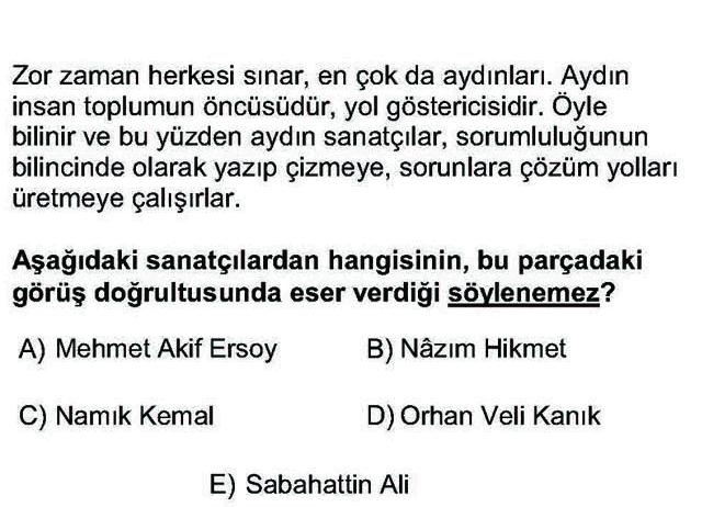 LYS Türk Dili ve Edebiyatı Soruları 51. Soru