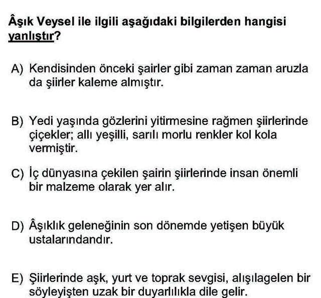 LYS Türk Dili ve Edebiyatı Soruları 54. Soru