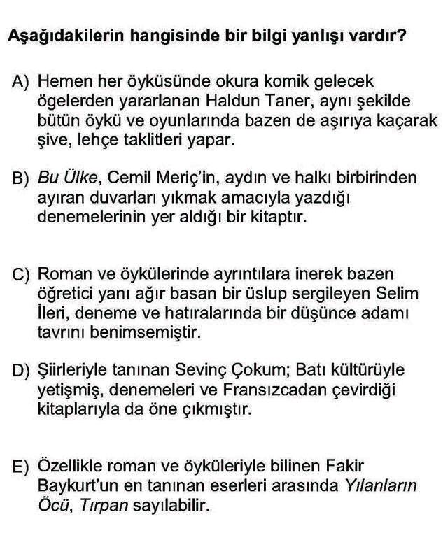 LYS Türk Dili ve Edebiyatı Soruları 55. Soru