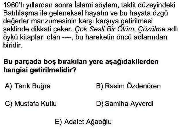 LYS Türk Dili ve Edebiyatı Soruları 56. Soru