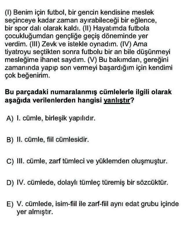 LYS Türk Dili ve Edebiyatı Soruları 9. Soru
