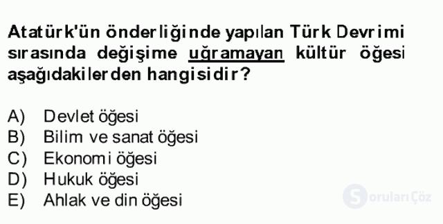 Atatürk İlkeleri ve İnkılap Tarihi II Bahar Final 1. Soru