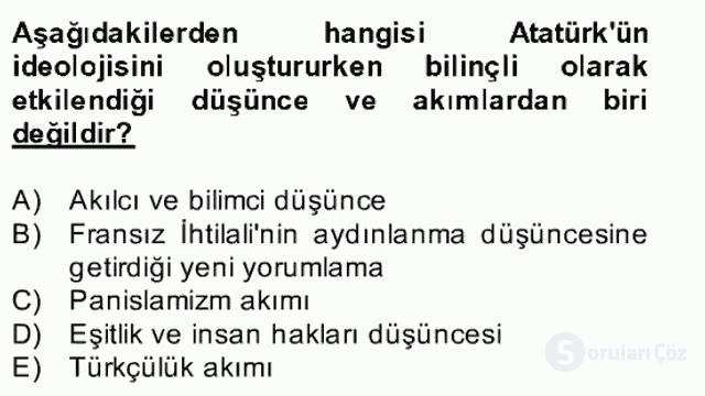 Atatürk İlkeleri ve İnkılap Tarihi II Bahar Final 12. Soru