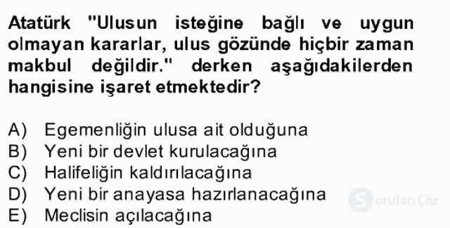 Atatürk İlkeleri ve İnkılap Tarihi II Bahar Final 15. Soru