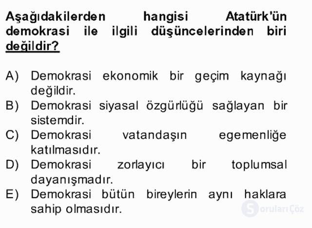 Atatürk İlkeleri ve İnkılap Tarihi II Bahar Final 16. Soru
