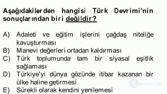 Atatürk İlkeleri ve İnkılap Tarihi II Bahar Final 23. Soru
