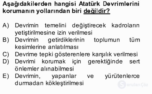 Atatürk İlkeleri ve İnkılap Tarihi II Bahar Final 25. Soru